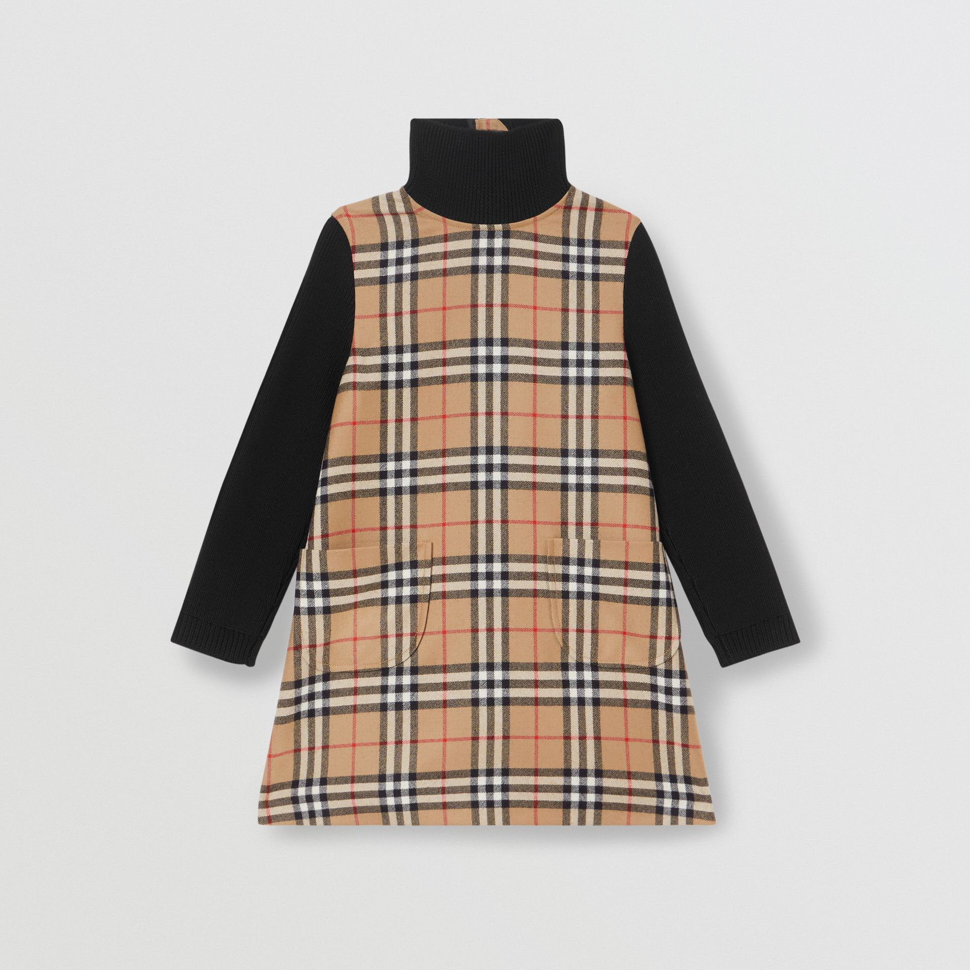 Vintage Check Wool Funnel Neck Dress in Archive Beige | Burberry - gallery image 0