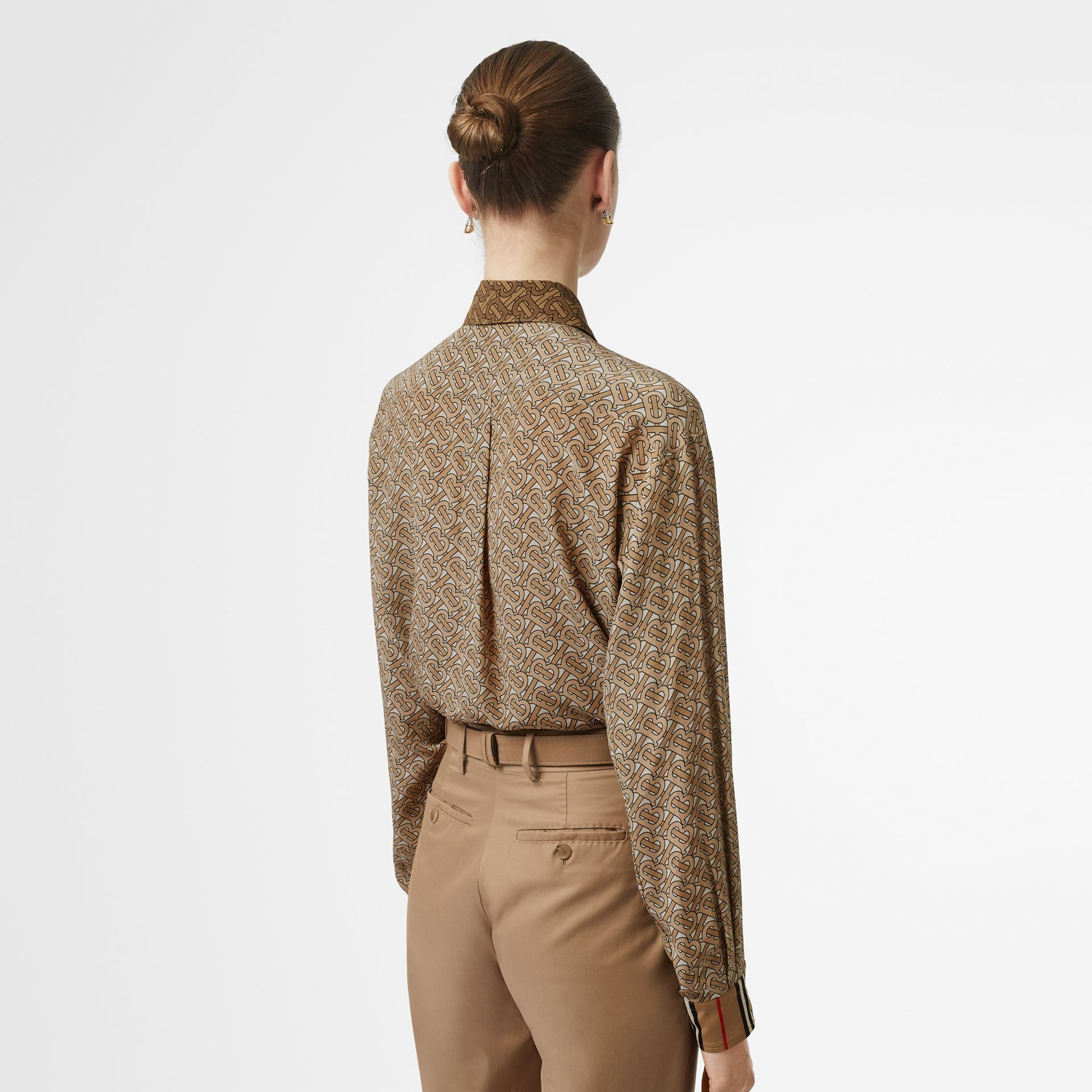 Two-tone Monogram Print Silk Oversized Shirt in Light Camel - Women | Burberry - gallery image 2