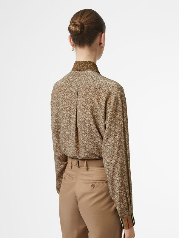 Two-tone Monogram Print Silk Oversized Shirt in Light Camel - Women | Burberry - cell image 2