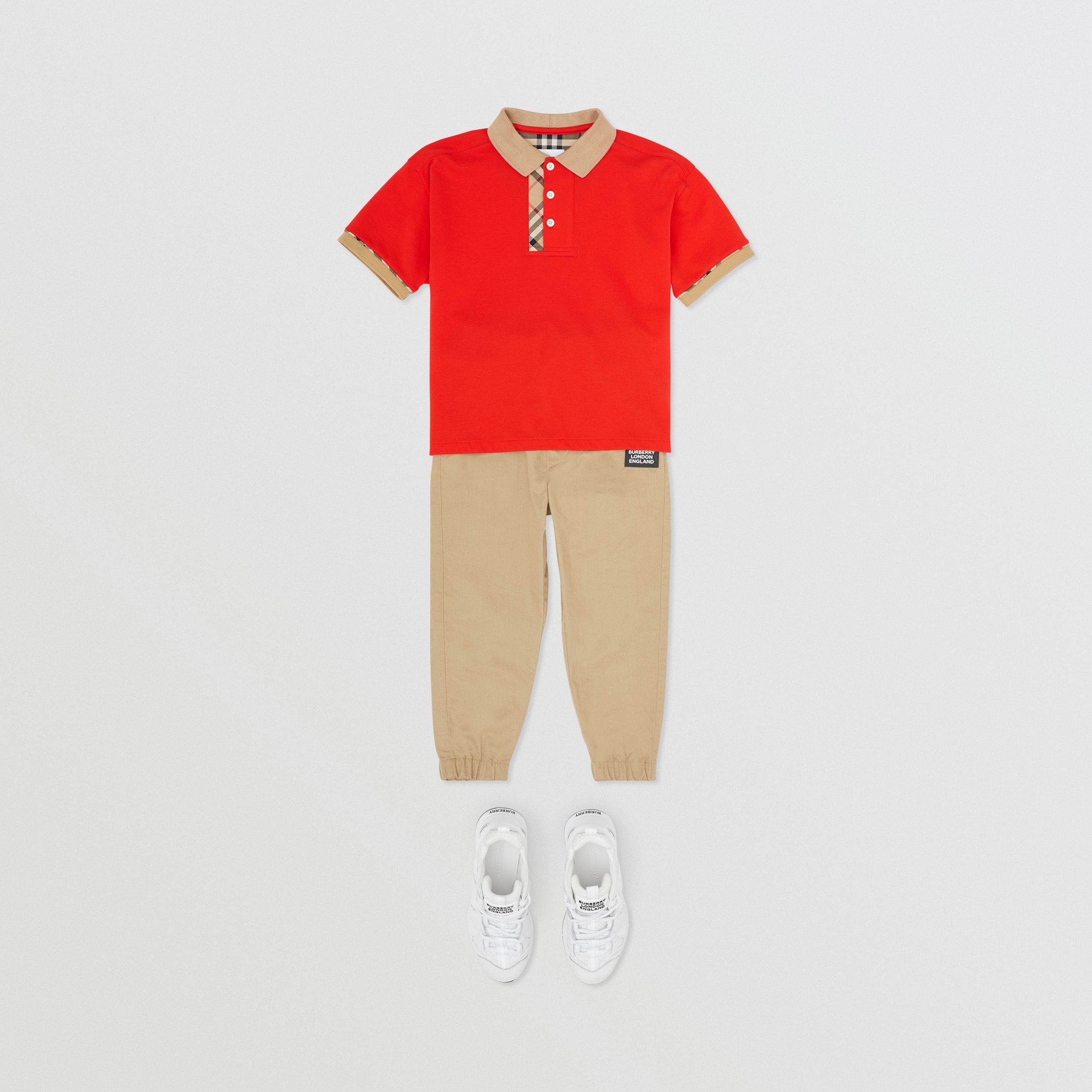 Vintage Check Trim Cotton Polo Shirt in Bright Red | Burberry - 3