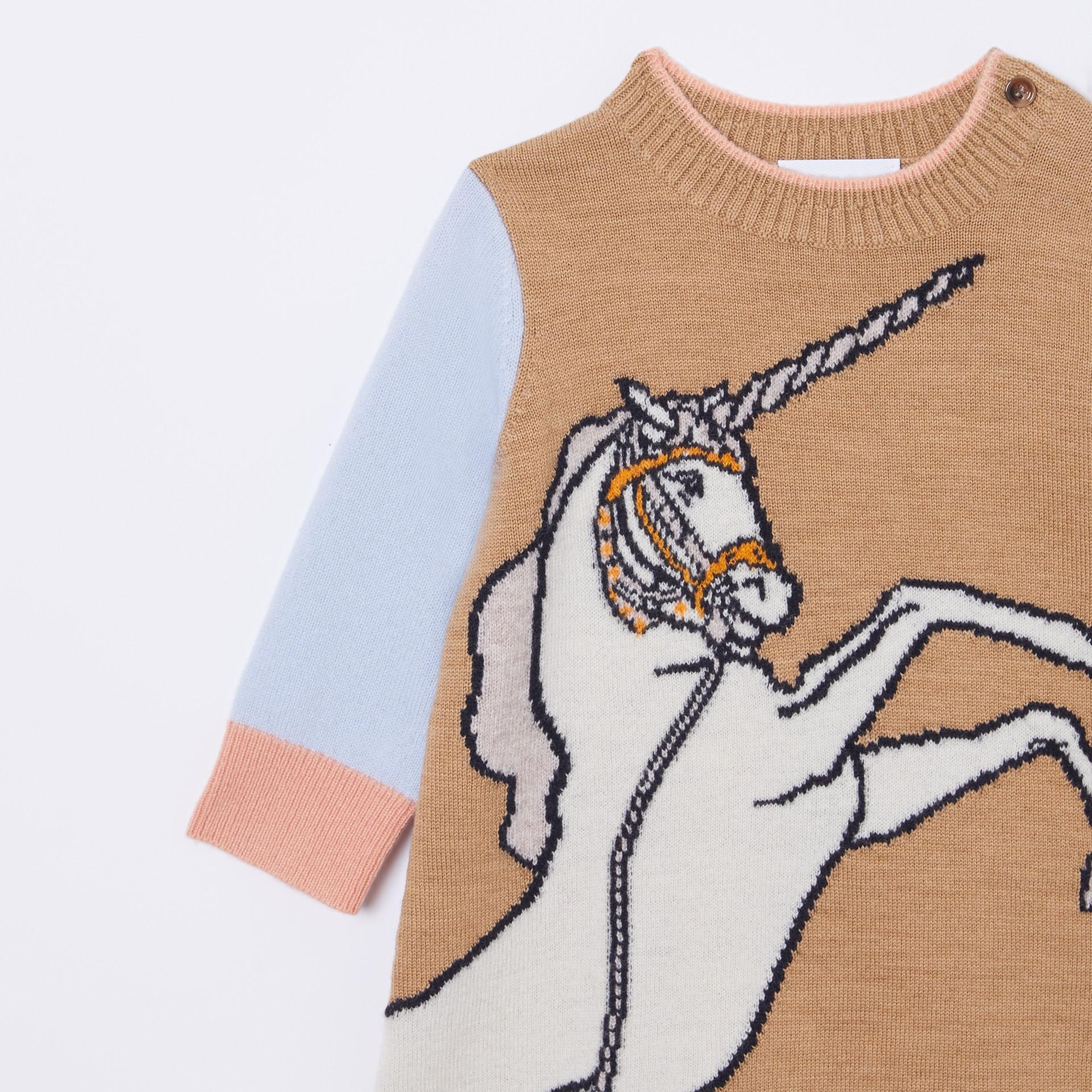 Unicorn Intarsia Wool Cashmere Dress in Camel - Children   Burberry United Kingdom - gallery image 4