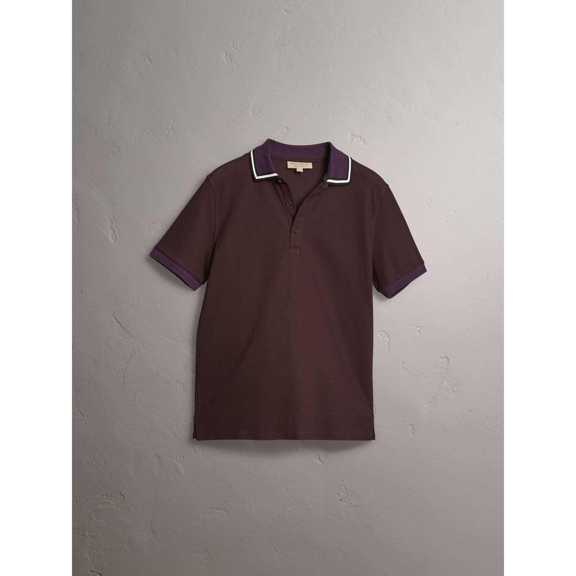 Striped Collar Cotton Piqué Polo Shirt in Blackcurrant - Men | Burberry - gallery image 3
