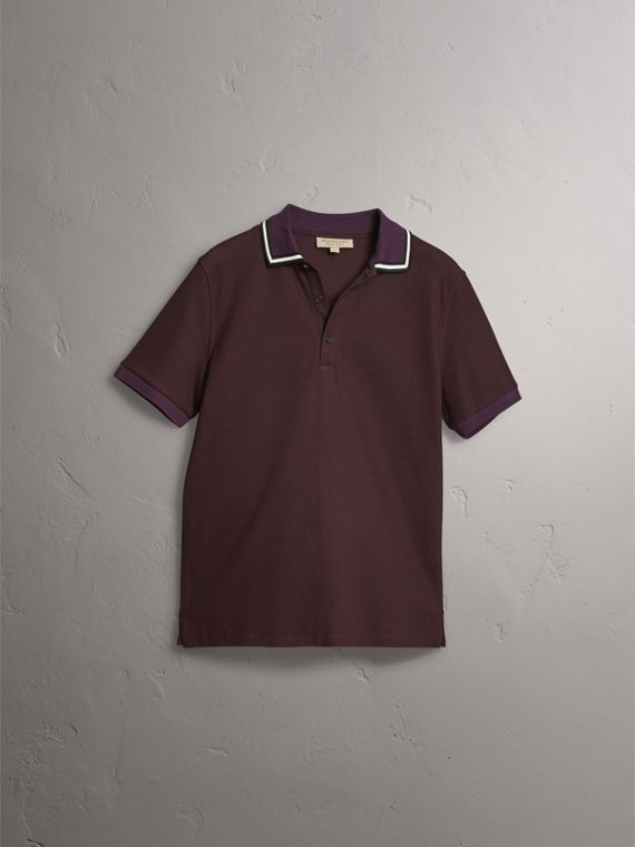 Striped Collar Cotton Piqué Polo Shirt in Blackcurrant - Men | Burberry - cell image 3