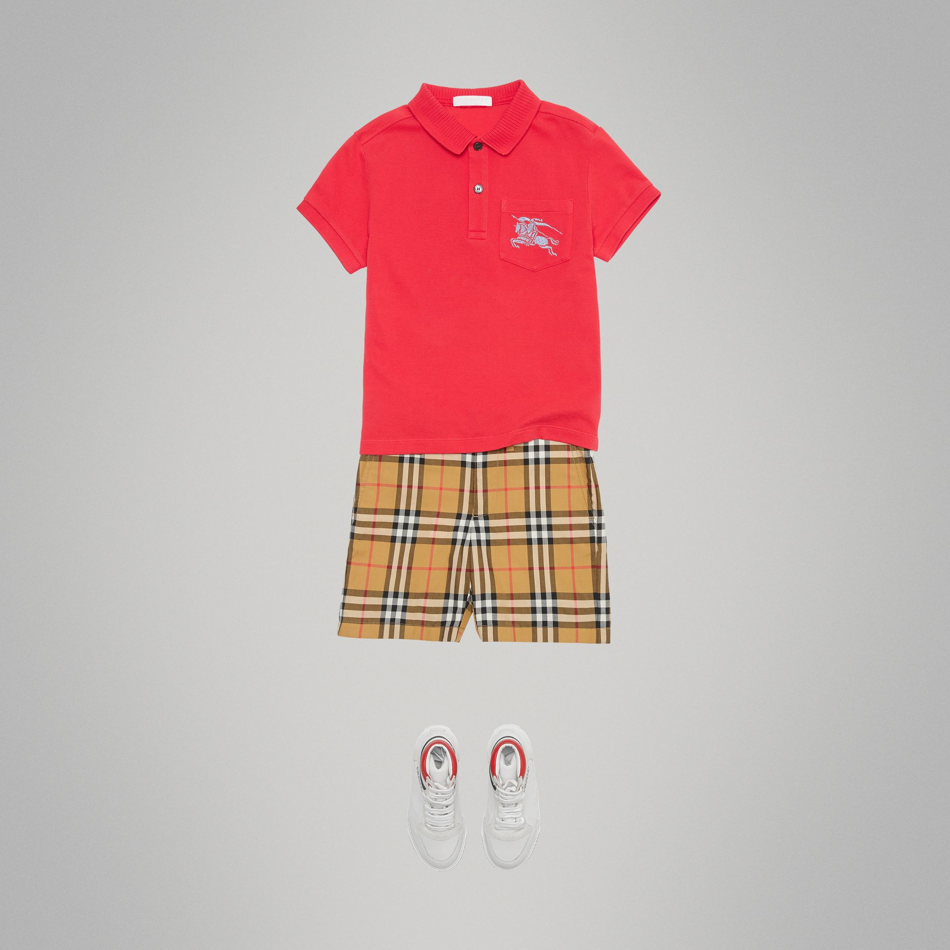 EKD Logo Cotton Piqué Polo Shirt in Bright Red | Burberry Australia - gallery image 2