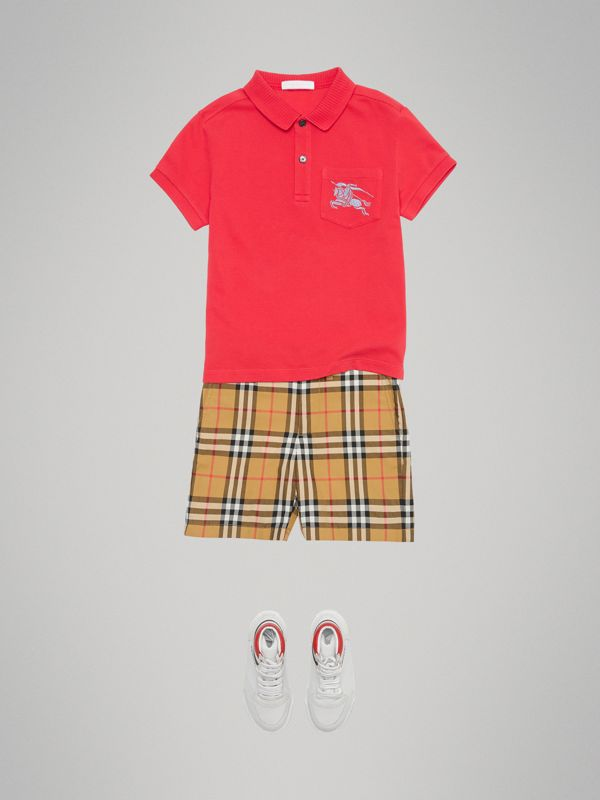 EKD Logo Cotton Piqué Polo Shirt in Bright Red | Burberry Australia - cell image 2