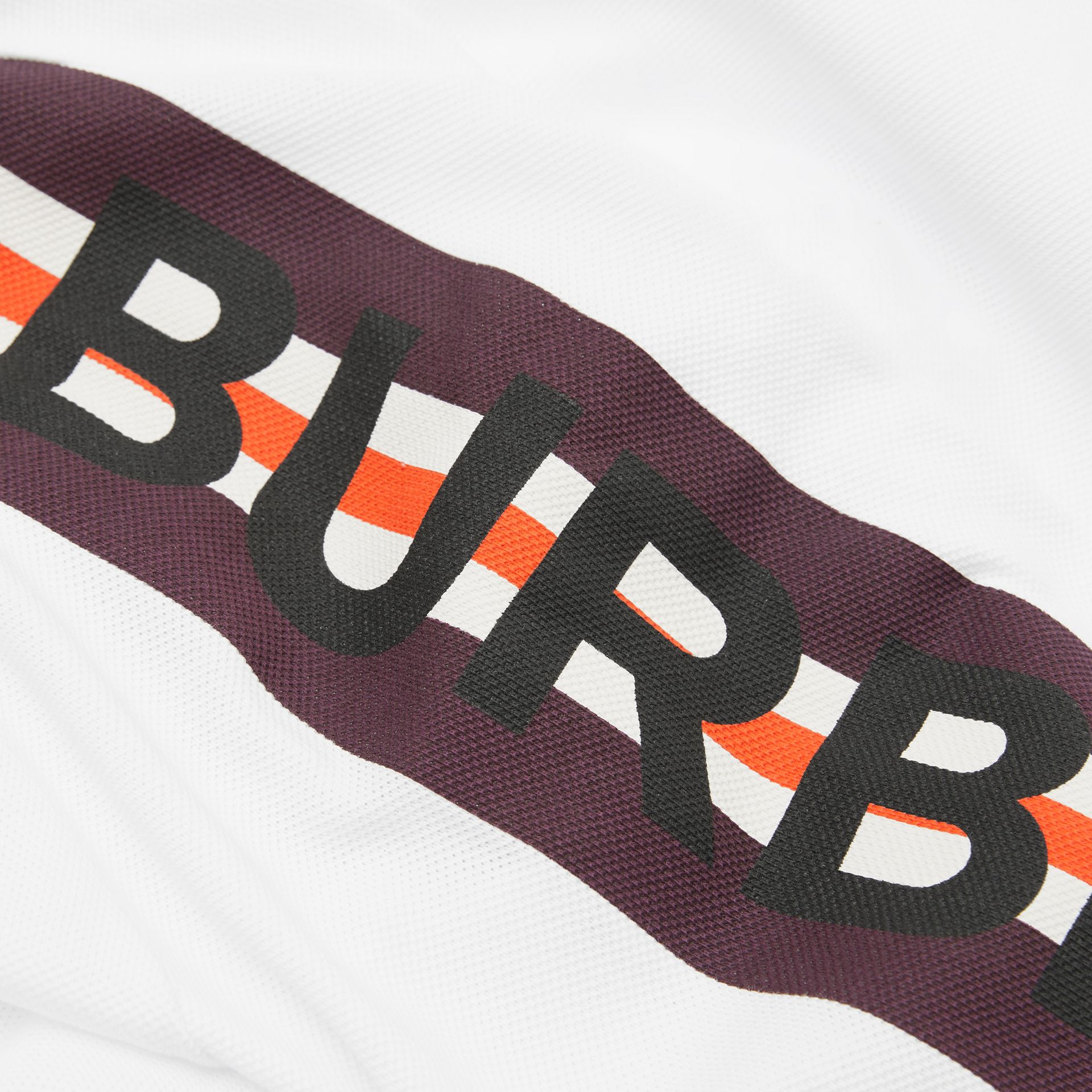 Long-sleeve Logo Print Cotton Polo Shirt in White | Burberry - gallery image 1
