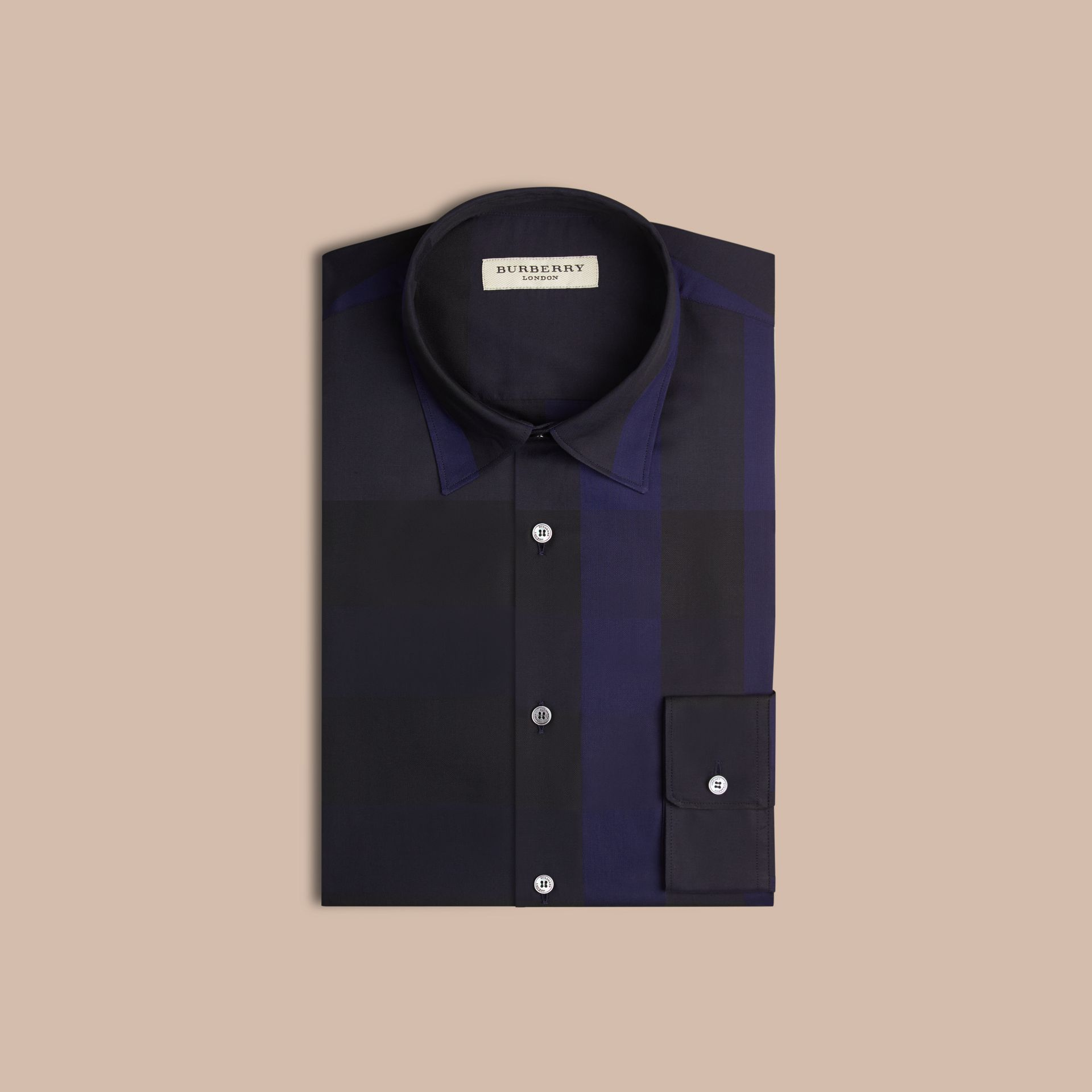 Azul marinho Camisa de algodão com estampa xadrez Azul Marinho - galeria de imagens 4