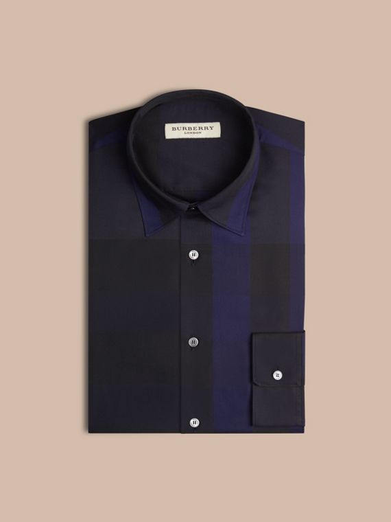 Navy Camicia in cotone con motivo check Navy - cell image 3
