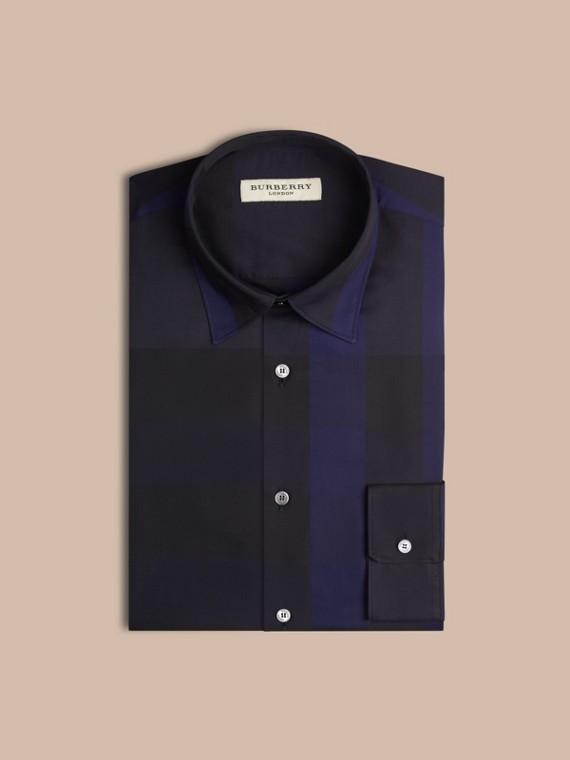 Azul marinho Camisa de algodão com estampa xadrez Azul Marinho - cell image 3