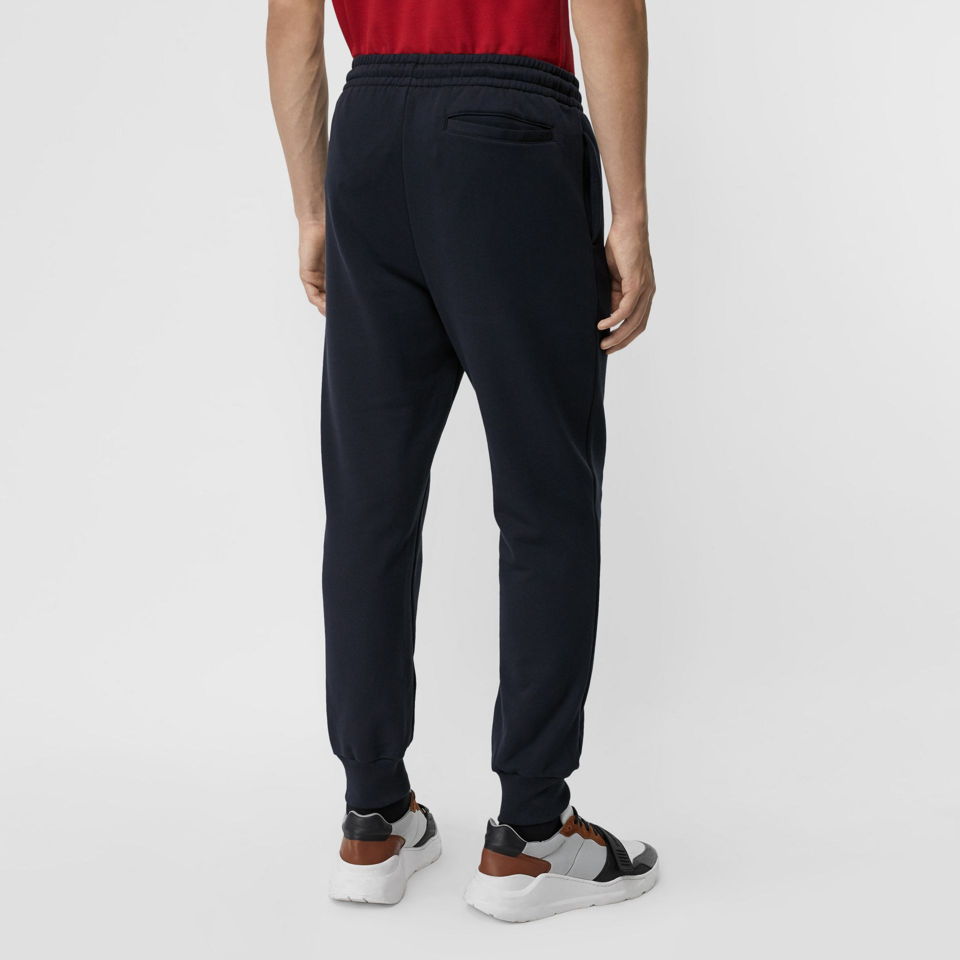 Chequer EKD Cotton Trackpants in Navy - Men | Burberry - gallery image 2