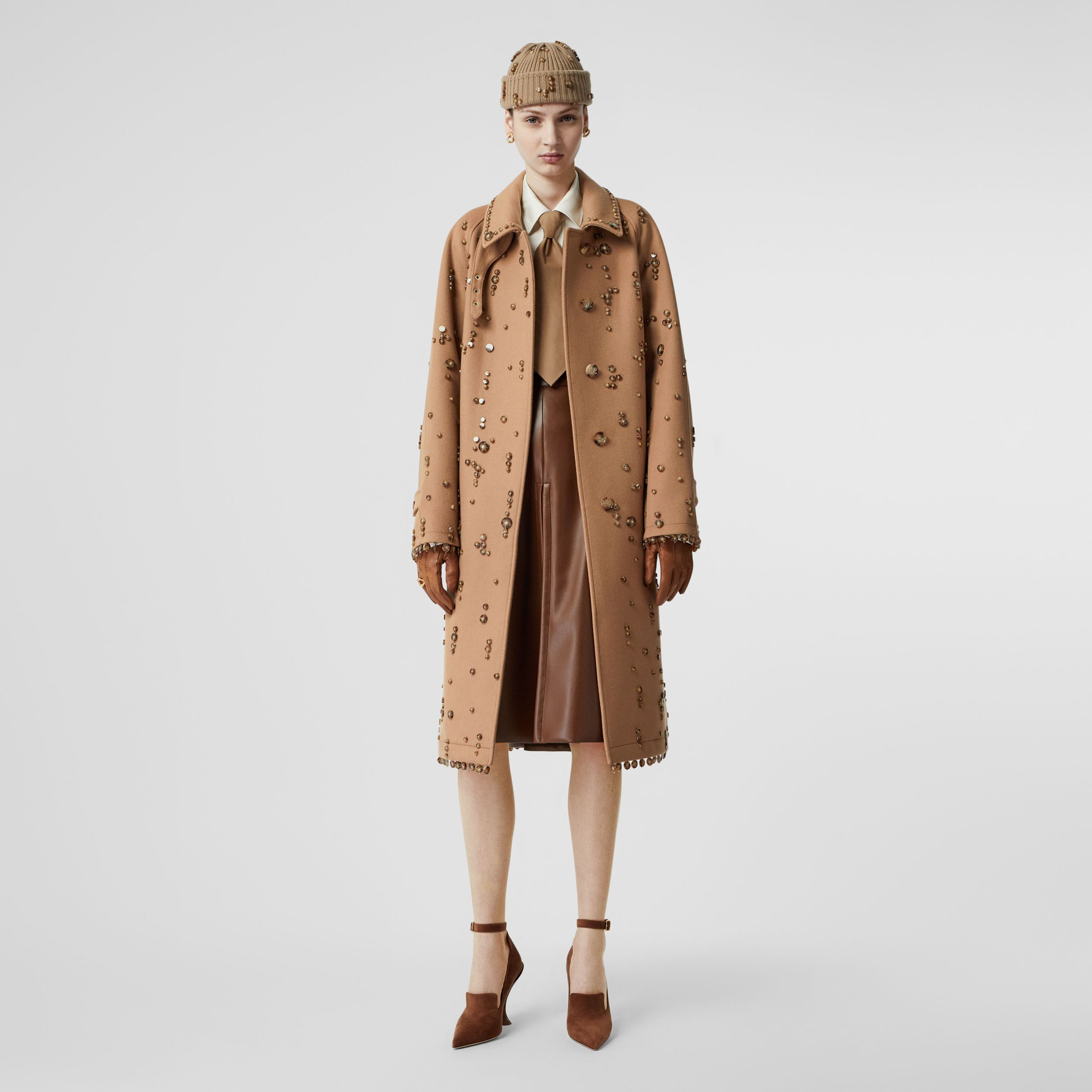 Embellished Wool Cashmere Car Coat in Camel - Women | Burberry - 1