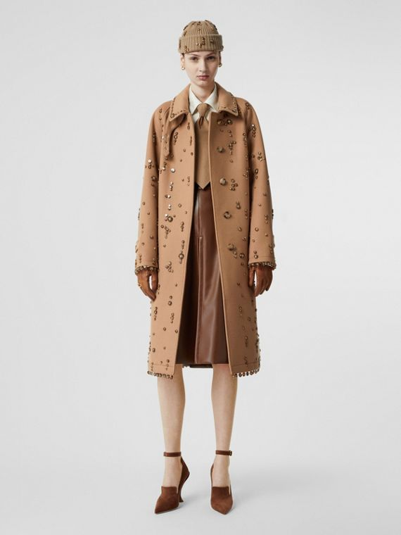 Embellished Wool Cashmere Car Coat in Camel