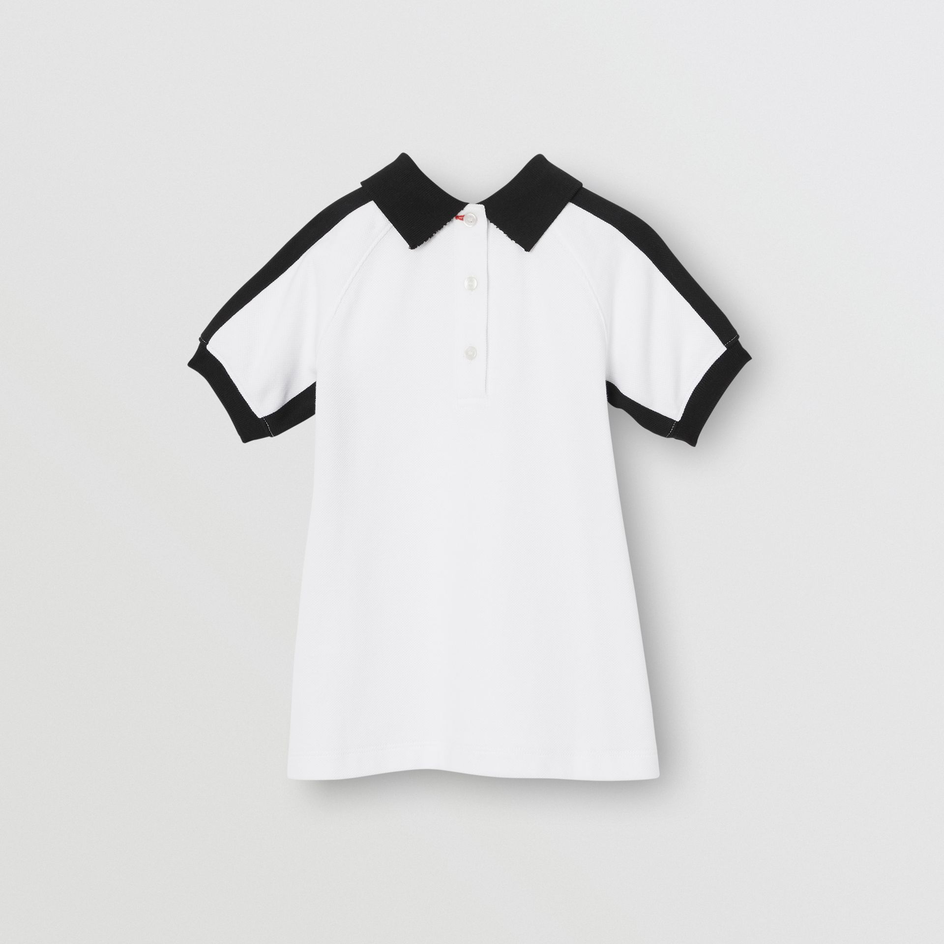 Embossed Logo Cotton Polo Dress in White - Children | Burberry - gallery image 3