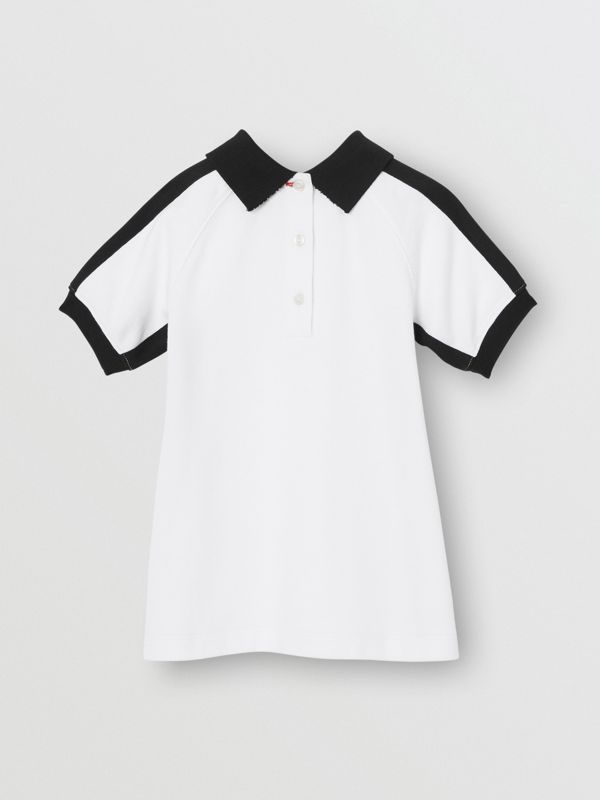 Embossed Logo Cotton Polo Dress in White - Children | Burberry - cell image 3