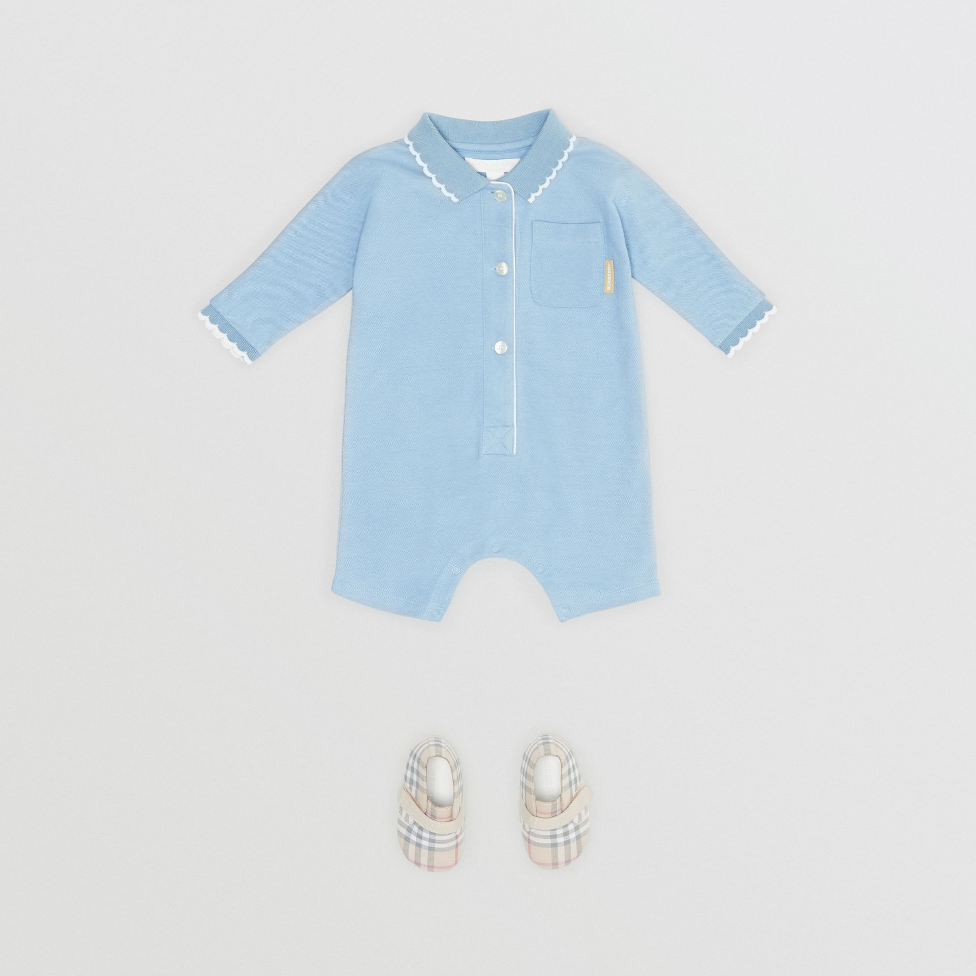 Logo Print Stretch Cotton Jumpsuit in Powder Blue - Children | Burberry - gallery image 2