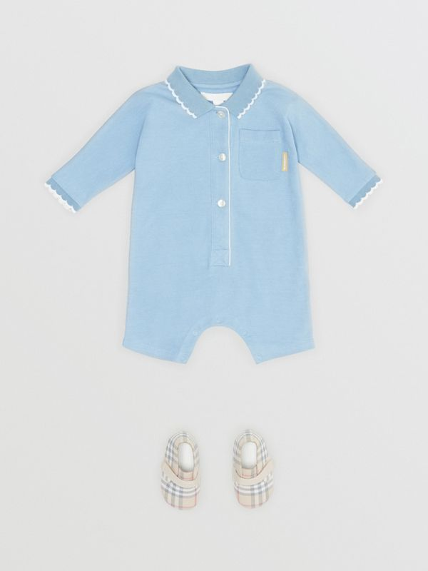Logo Print Stretch Cotton Jumpsuit in Powder Blue - Children | Burberry - cell image 2