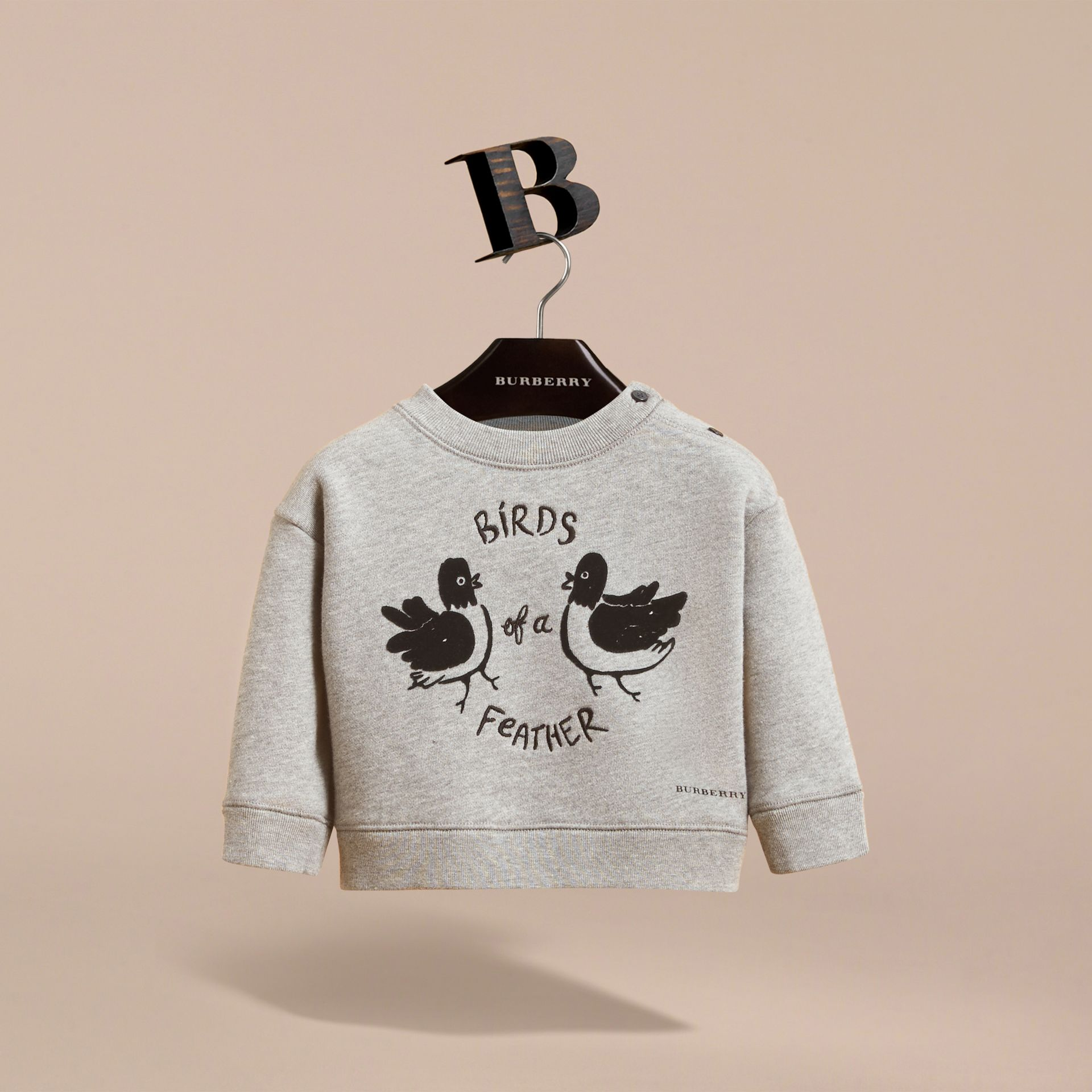 Birds of a Feather Motif Cotton Sweatshirt in Grey Melange | Burberry Hong Kong - gallery image 3
