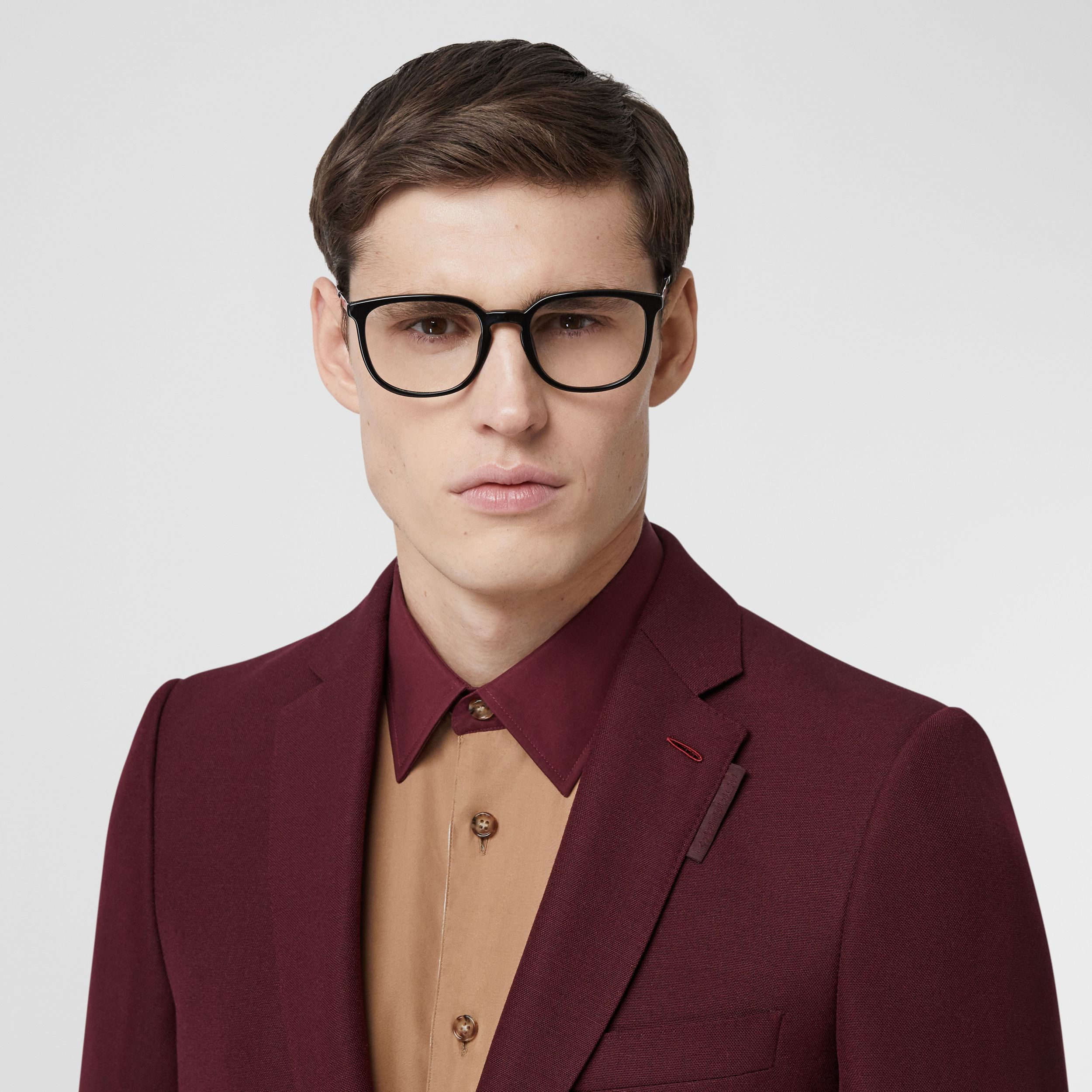 English Fit Wool Mohair Tailored Jacket in Deep Burgundy - Men | Burberry - 2