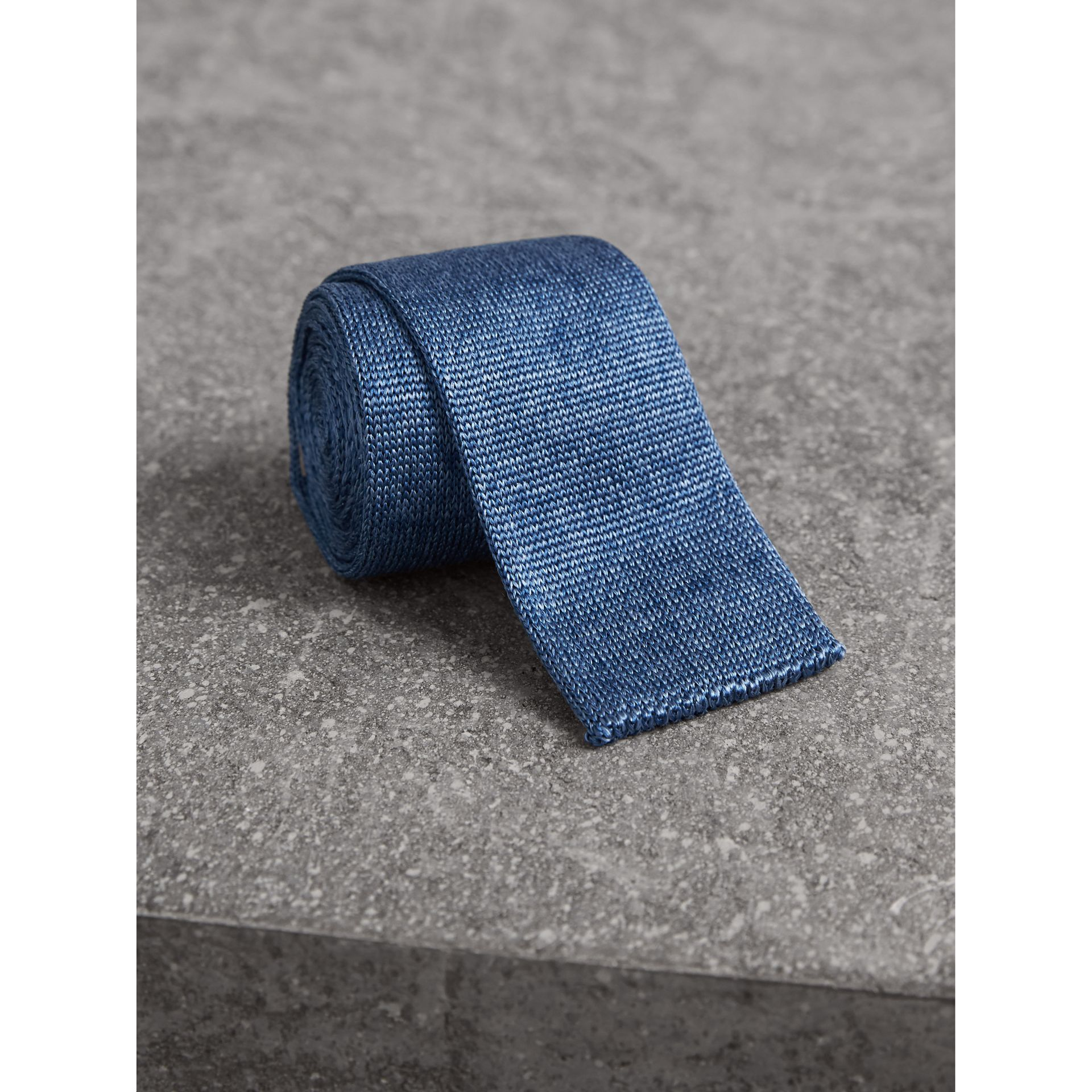 Slim Cut Knitted Silk Tie in Petrol Blue - Men | Burberry United Kingdom - gallery image 1