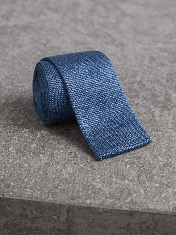 Slim Cut Knitted Silk Tie in Petrol Blue - Men | Burberry