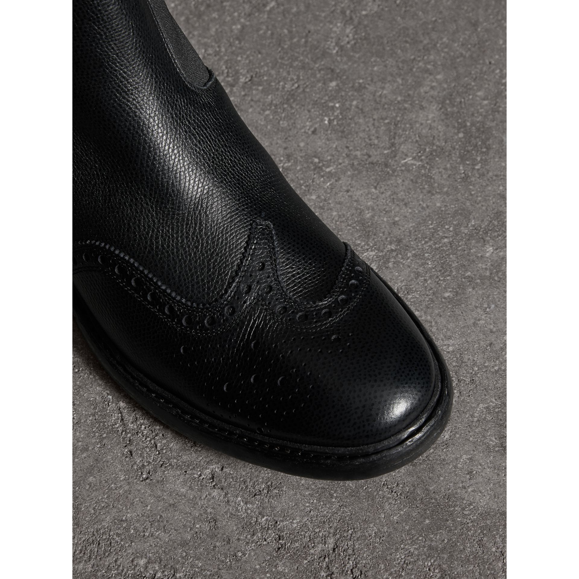 Brogue Detail Polished Leather Chelsea Boots in Black - Men | Burberry - gallery image 1