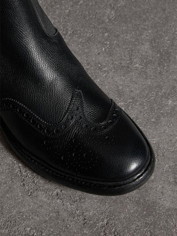 Brogue Detail Polished Leather Chelsea Boots in Black - Men | Burberry United States - cell image 1