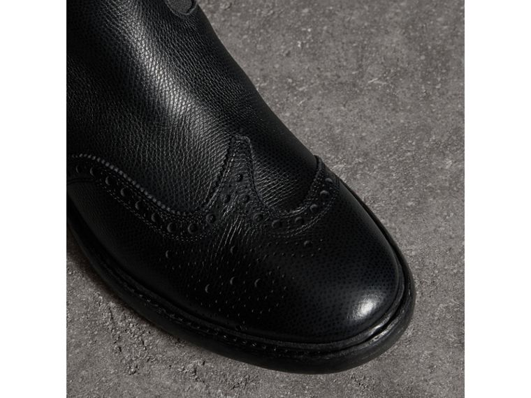 Brogue Detail Polished Leather Chelsea Boots in Black - Men | Burberry - cell image 1