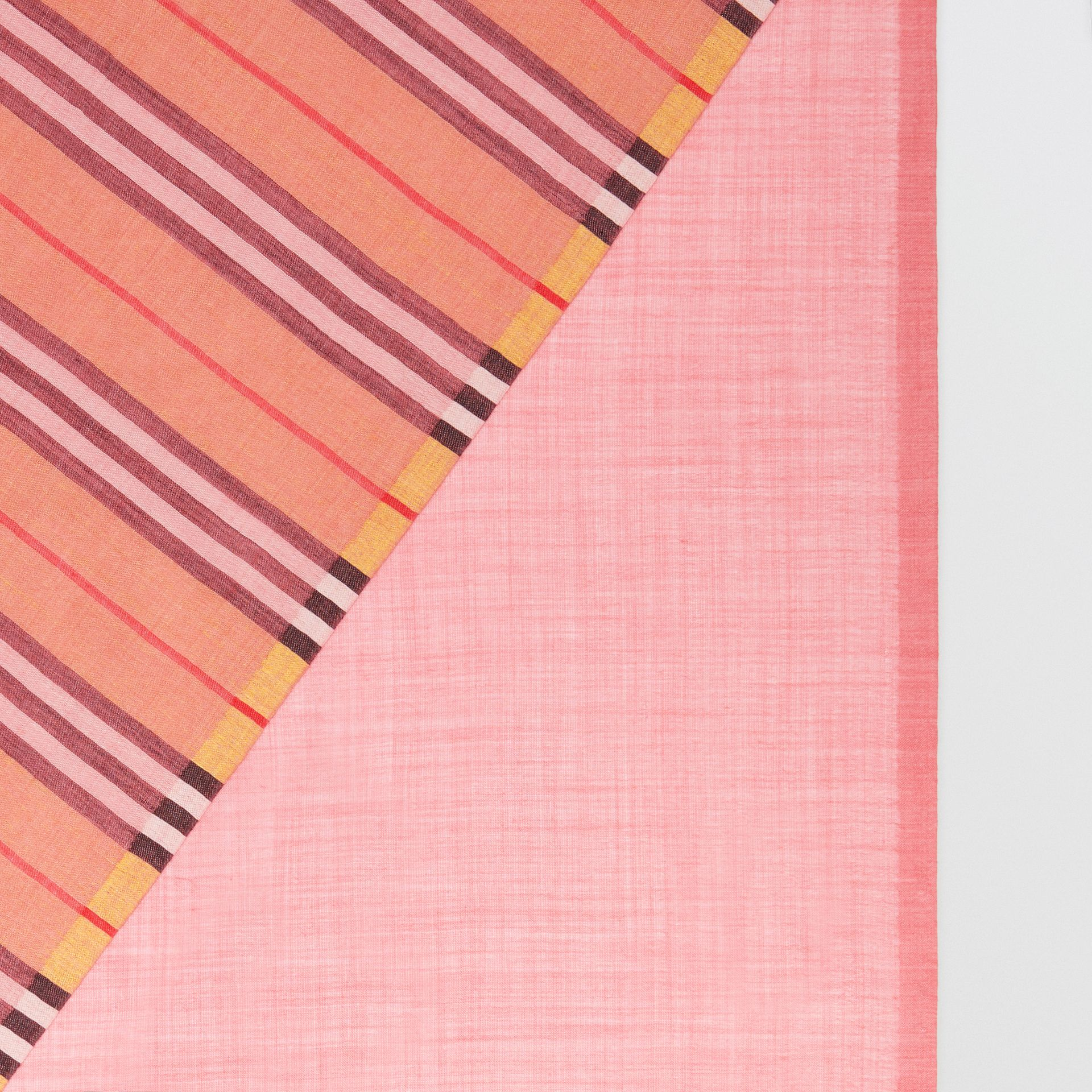 Vintage Check and Colour Block Wool Silk Scarf in Rose Pink | Burberry Australia - gallery image 1