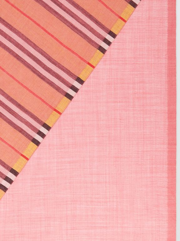 Vintage Check and Colour Block Wool Silk Scarf in Rose Pink | Burberry Australia - cell image 1