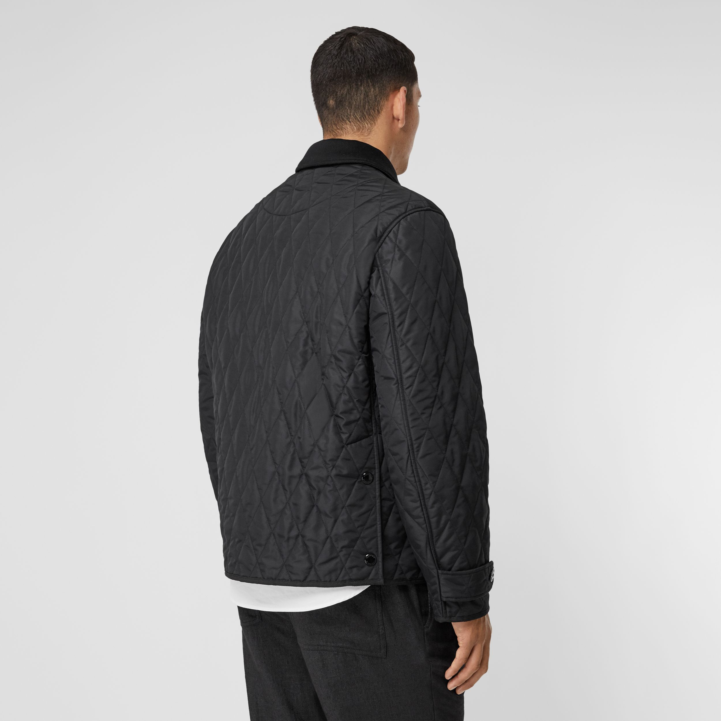 Diamond Quilted Jacket with Warmer in Black - Men | Burberry - 3