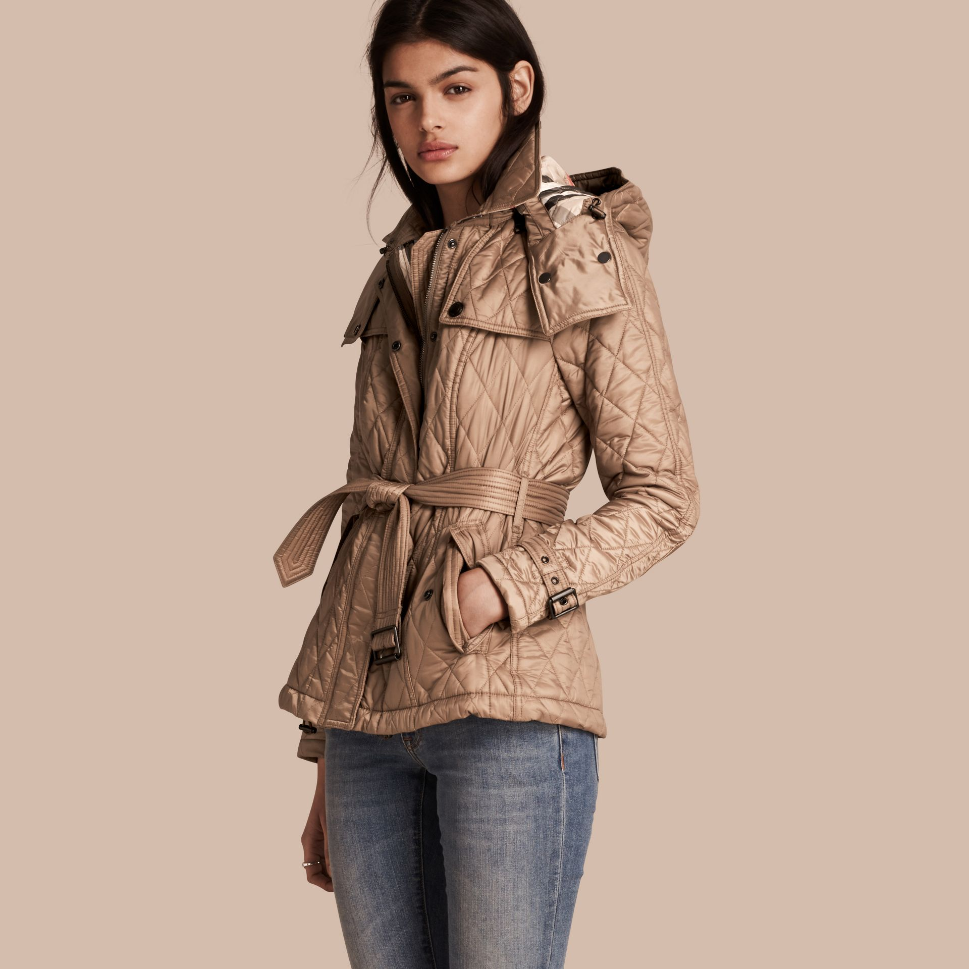 Quilted Trench Jacket with Detachable Hood Pale Fawn - gallery image 1