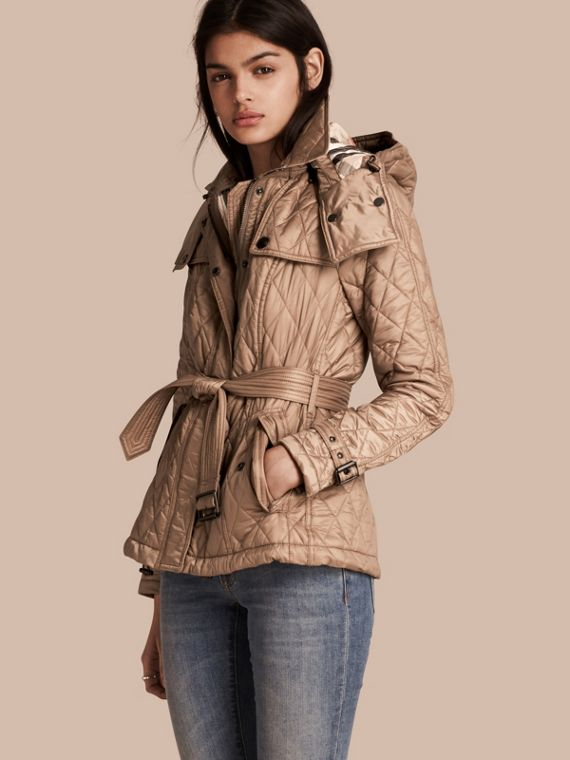 Quilted Trench Jacket with Detachable Hood in Pale Fawn - Women | Burberry