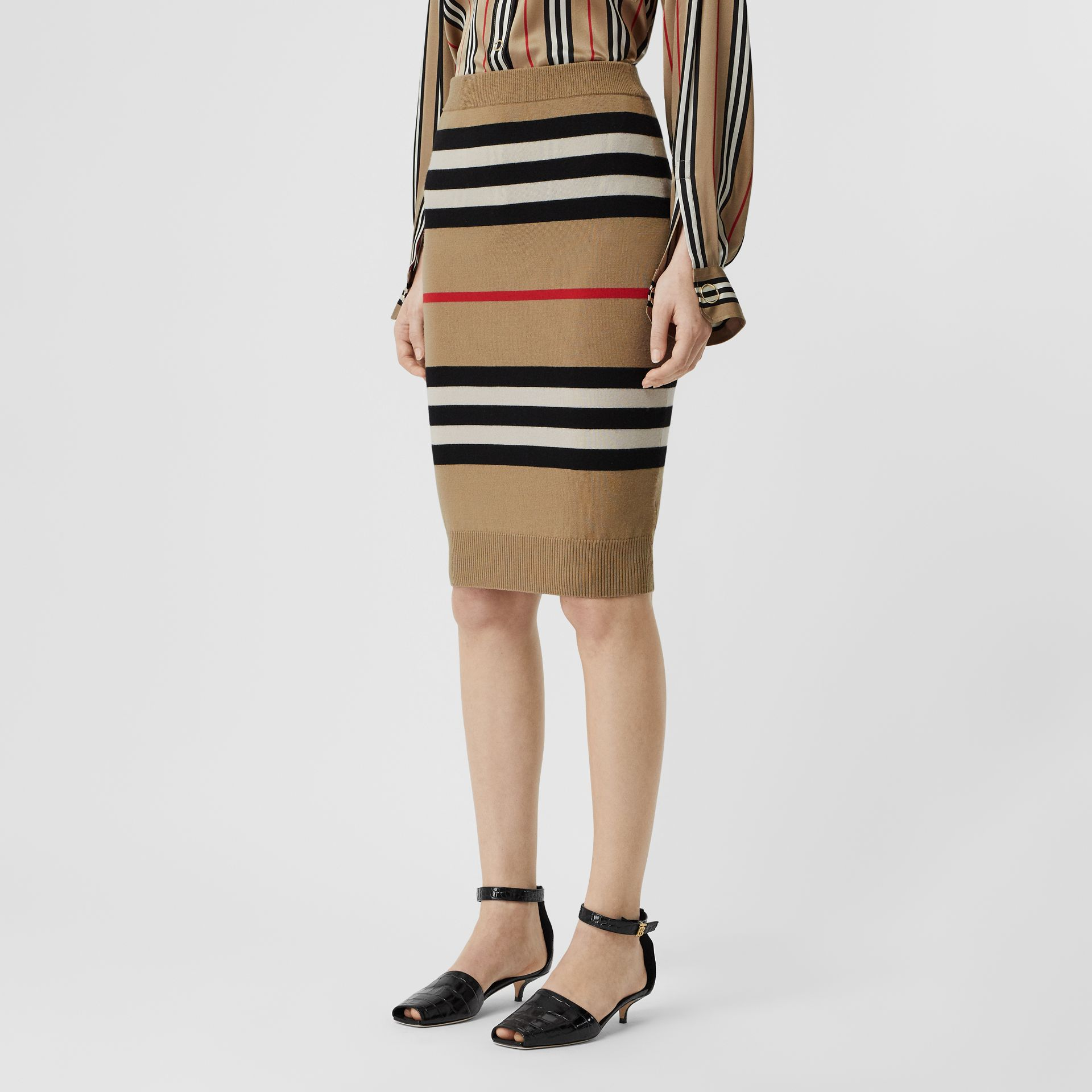 Icon Stripe Merino Wool Pencil Skirt in Archive Beige - Women | Burberry - gallery image 4