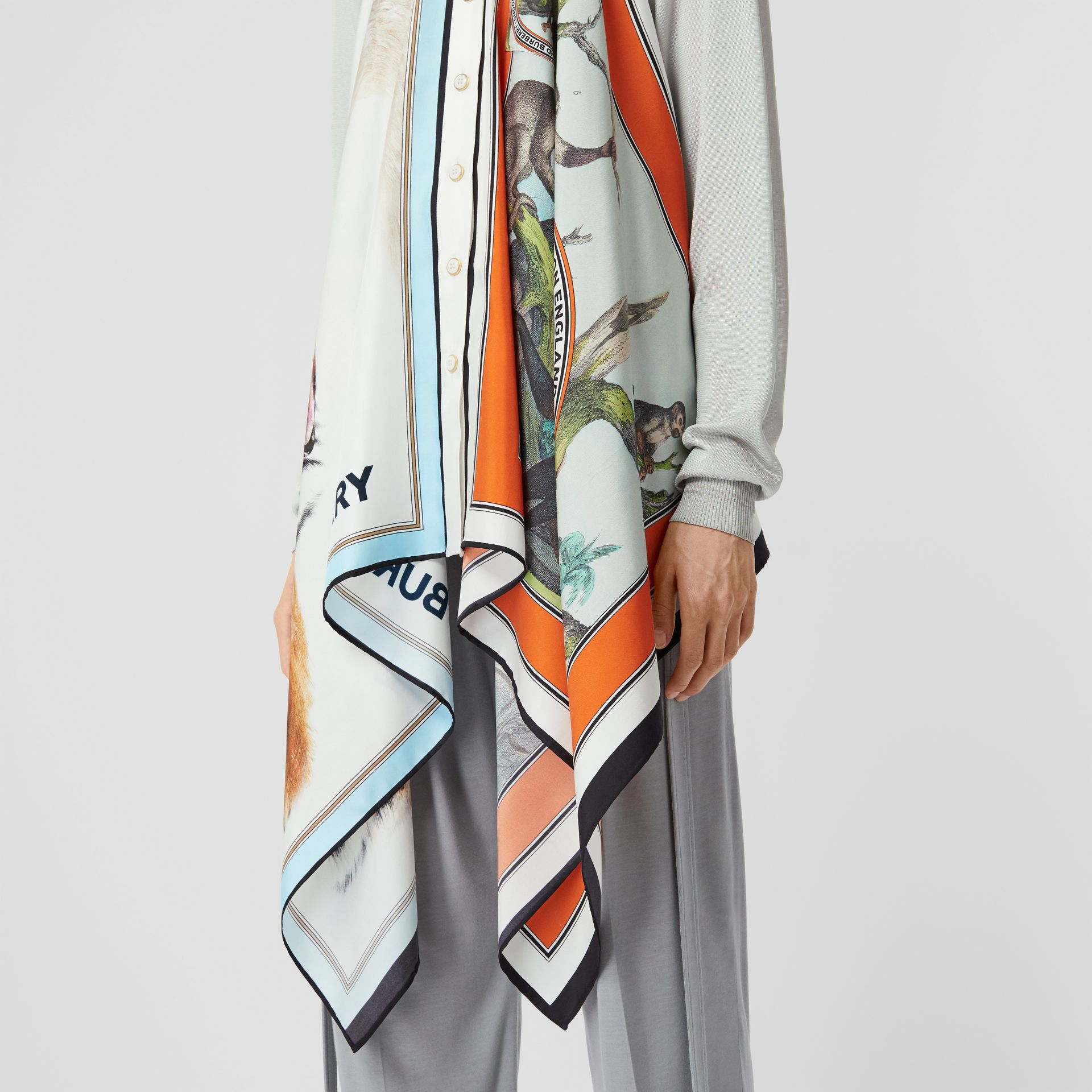 Animalia Print Silk Scarf Detail Knitted Top in Porcelain - Women | Burberry United States - gallery image 4