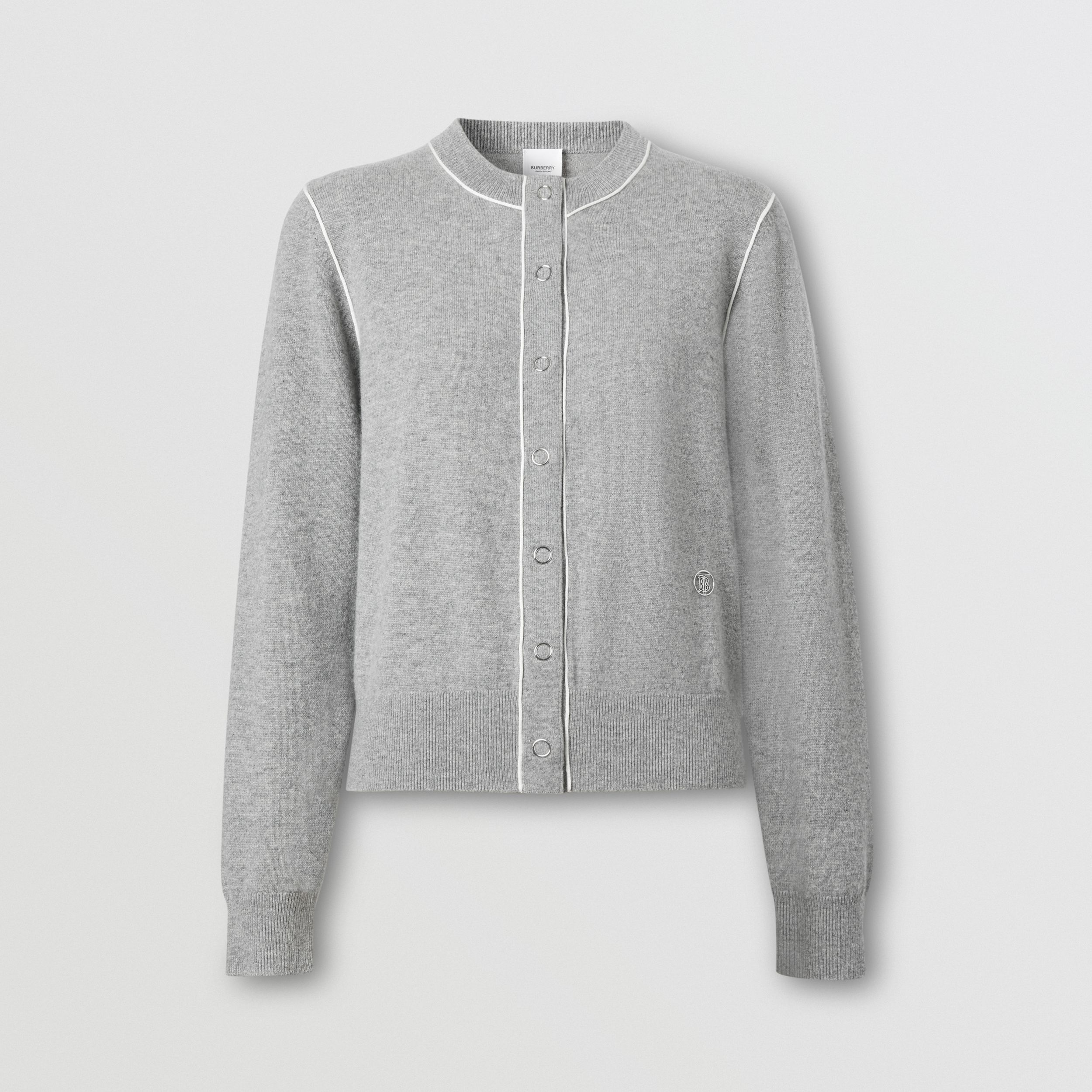 Silk Trim Monogram Motif Cashmere Cardigan in Grey Melange - Women | Burberry Australia - 4