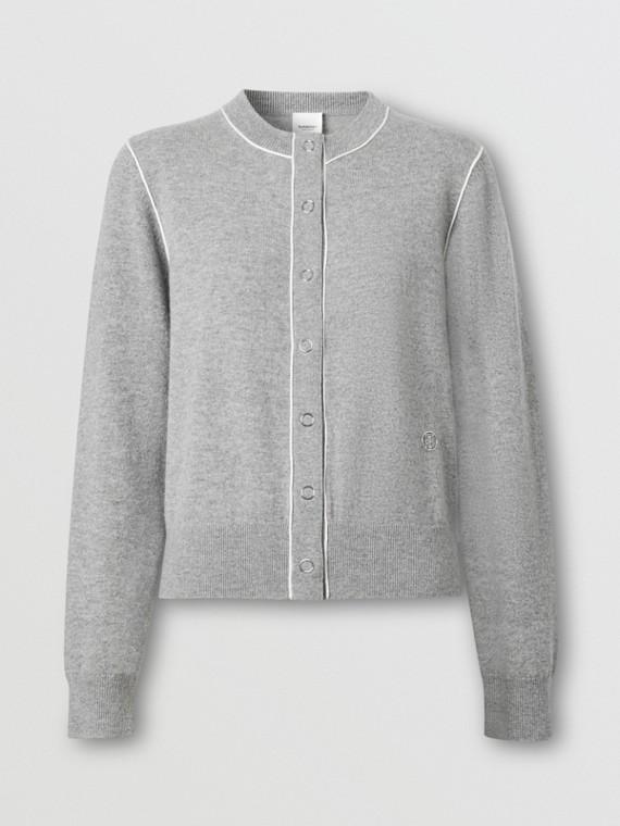Silk Trim Monogram Motif Cashmere Cardigan in Grey Melange