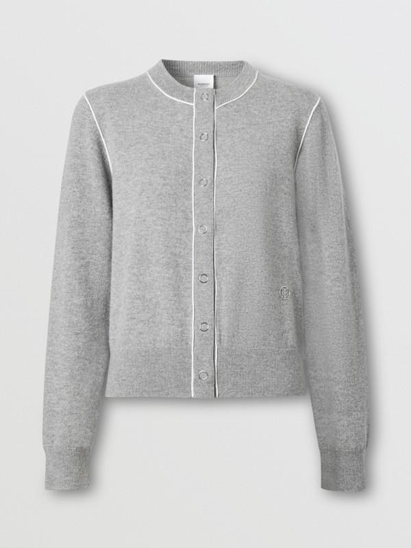 Silk Trim Monogram Motif Cashmere Cardigan in Grey Melange - Women   Burberry - cell image 3