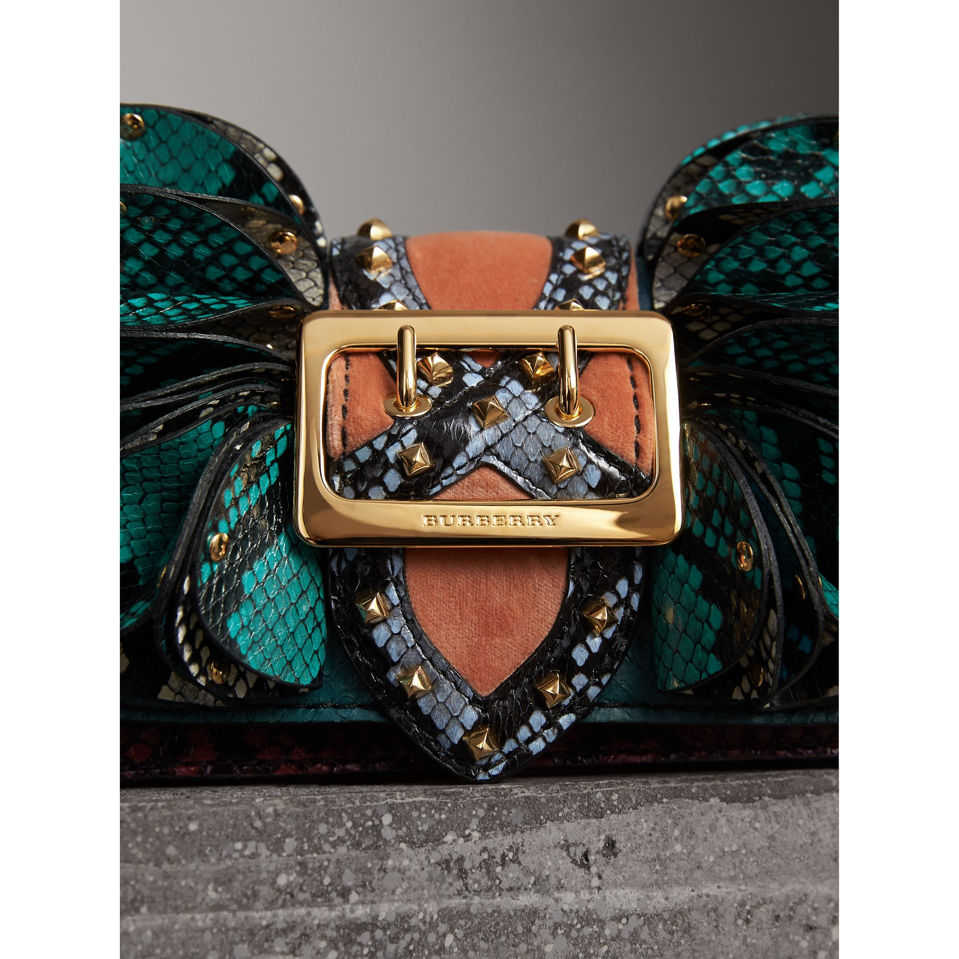 The Ruffle Buckle Bag in Snakeskin and Velvet in Teal - Women | Burberry United States - gallery image 2