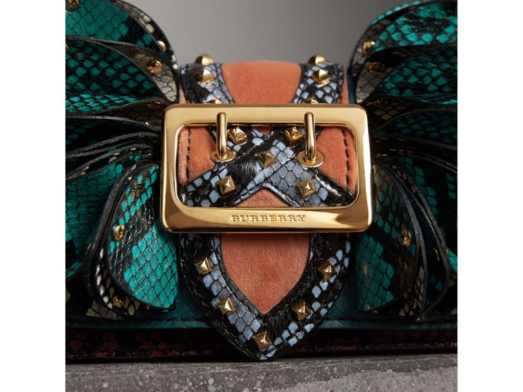 The Ruffle Buckle Bag in Snakeskin and Velvet in Teal - Women | Burberry Australia - cell image 1