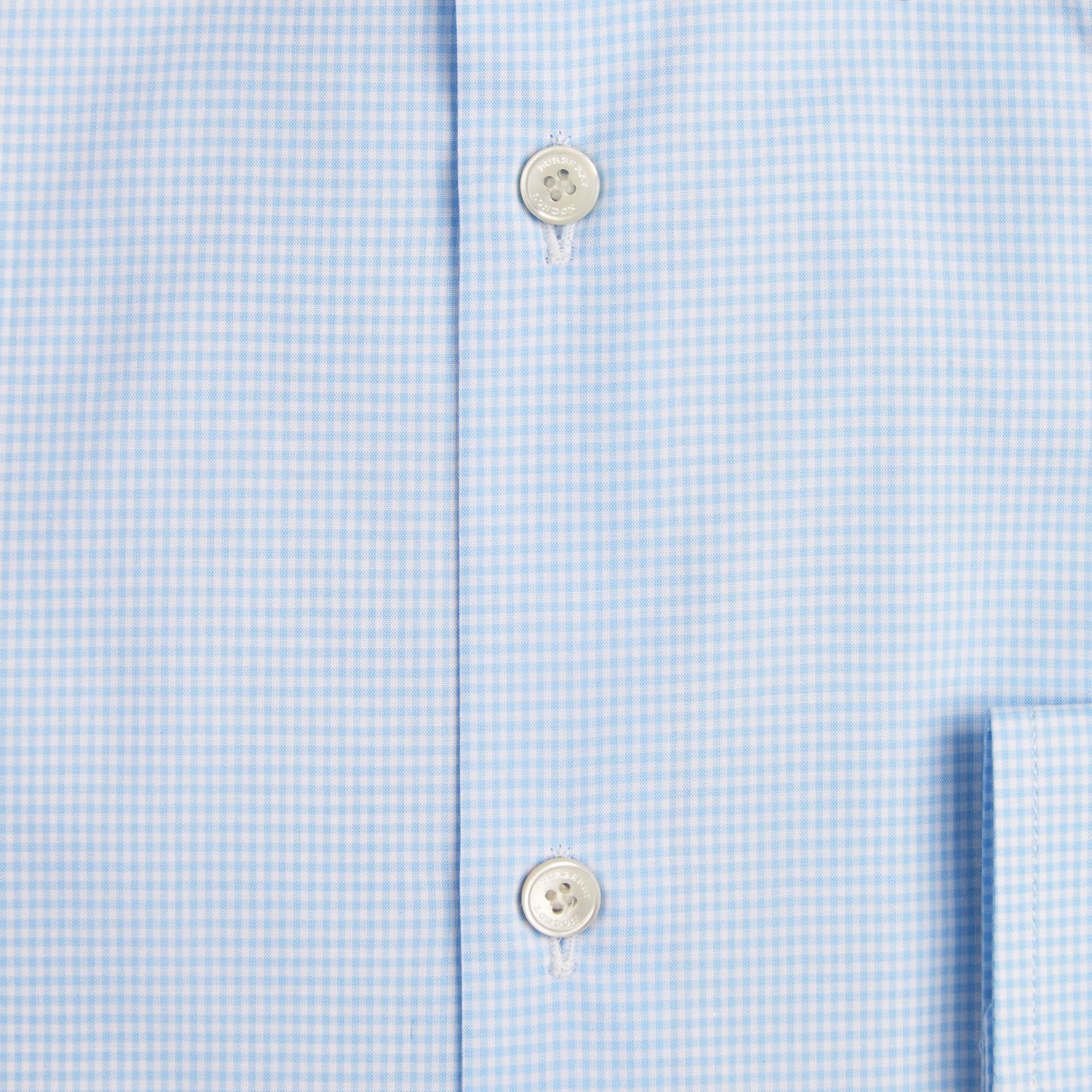 Modern Fit Gingham Cotton Poplin Shirt City Blue - gallery image 2