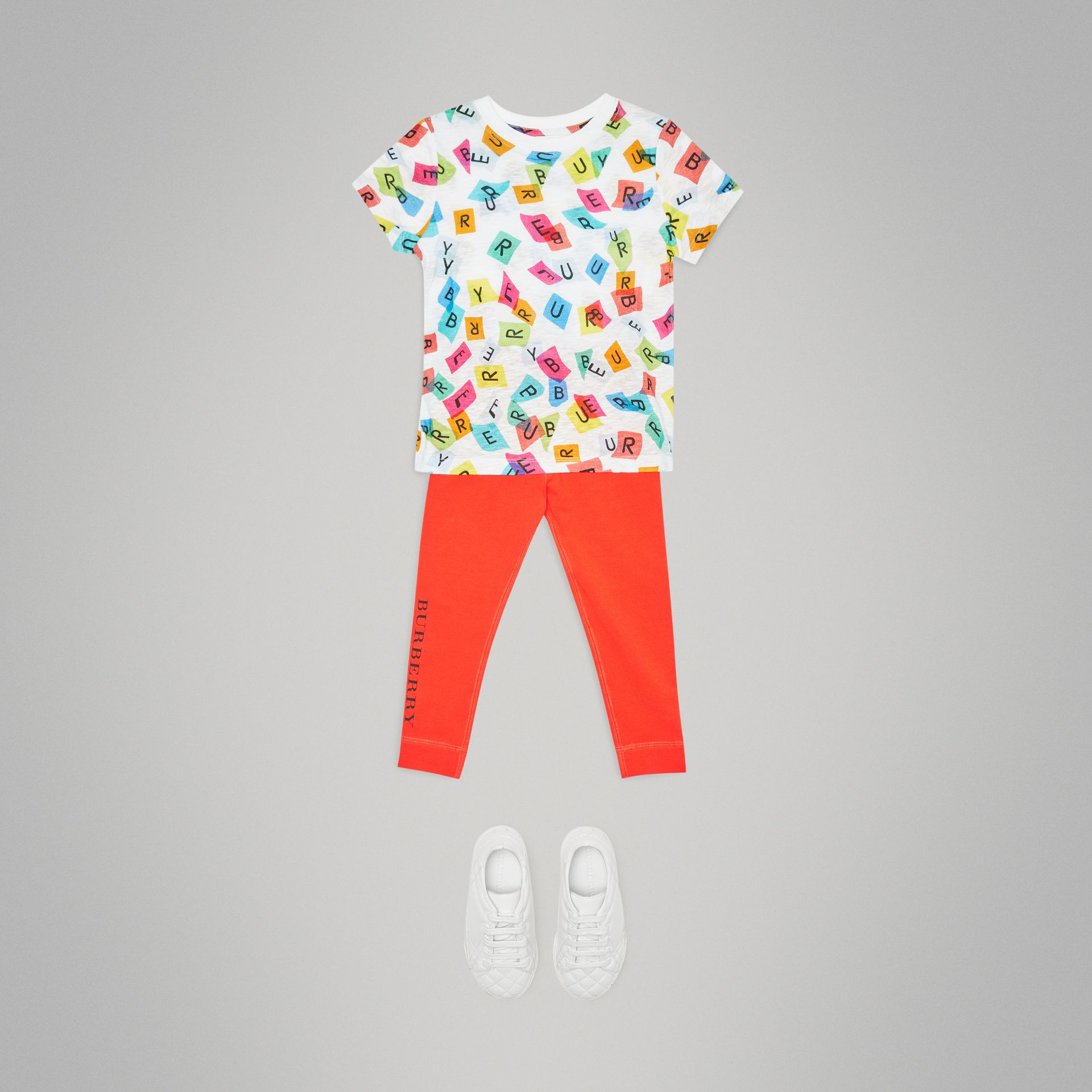 Confetti Letter Print Jersey T-shirt in White - Children | Burberry United Kingdom - gallery image 2