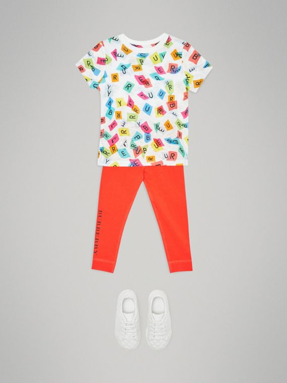 Confetti Letter Print Jersey T-shirt in White