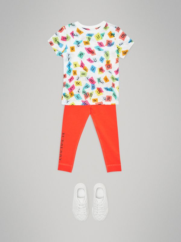 Confetti Letter Print Jersey T-shirt in White - Children | Burberry - cell image 2