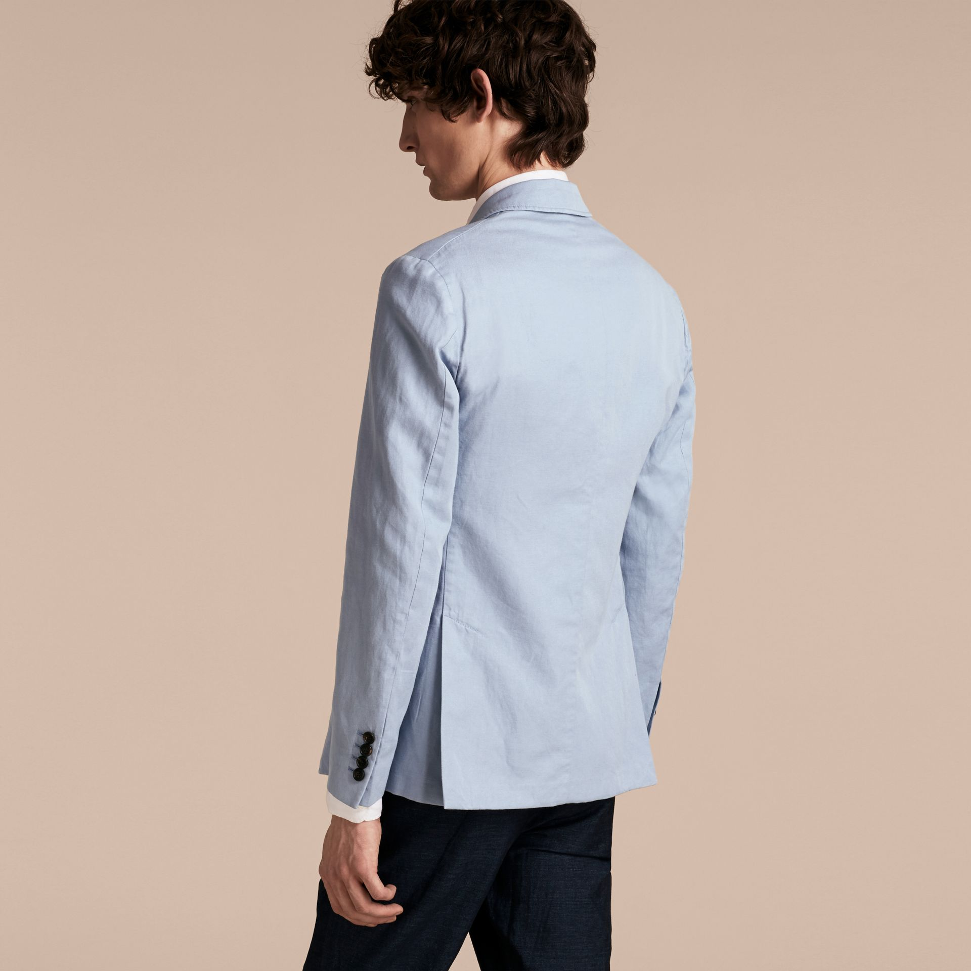 Slim Fit Cotton Linen Jacket in Pale Blue - Men | Burberry - gallery image 2