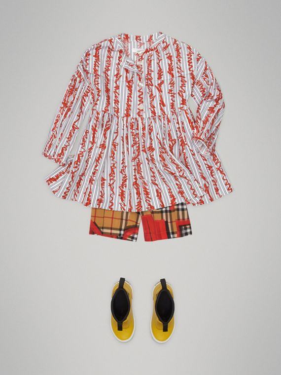 Scribble Stripe Cotton Dress in Bright Red - Girl | Burberry - cell image 2