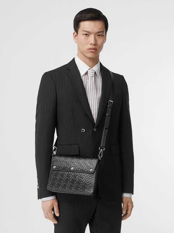 Triple Stud Monogram Leather Crossbody Bag in Black - Men | Burberry - cell image 2