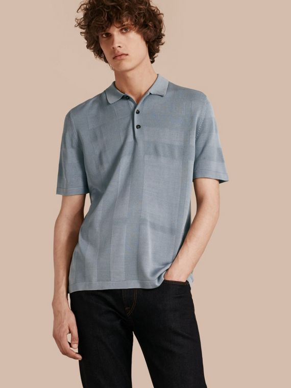 Check Jacquard Piqué Silk Cotton Polo Shirt Slate Blue