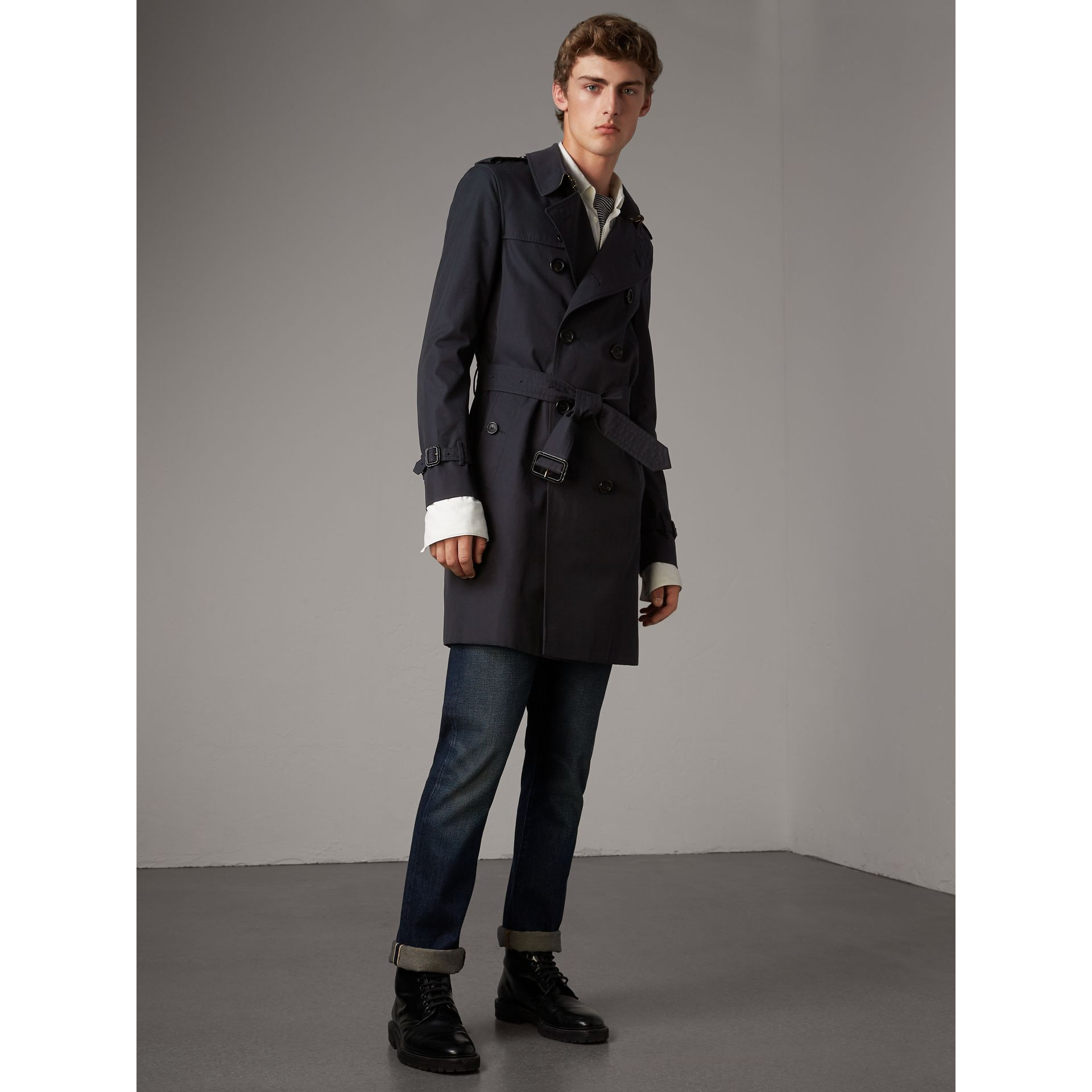 The Sandringham – Long Trench Coat in Navy - Men | Burberry United States - gallery image 6