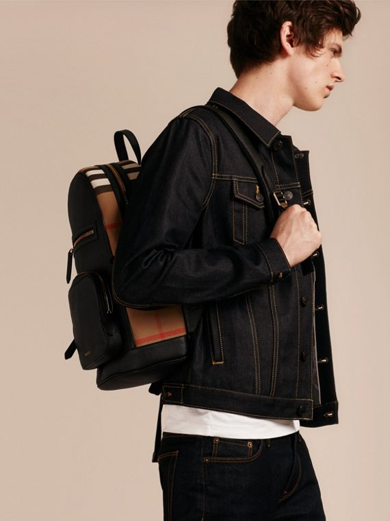 Black Textured Leather and House Check Backpack - cell image 2
