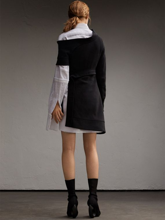 Asymmetric Sweatshirt Dress in Black - Women | Burberry - cell image 2